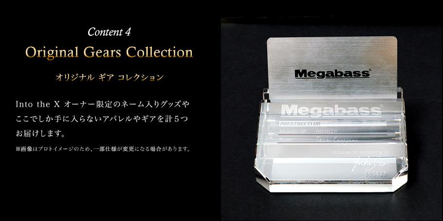 Content 4 Original Gears Collection(オリジナル ギア コレクション) Into the X オーナー限定のネーム入りグッズやここでしか手に入らないアパレルやギアを計5つお届けします。