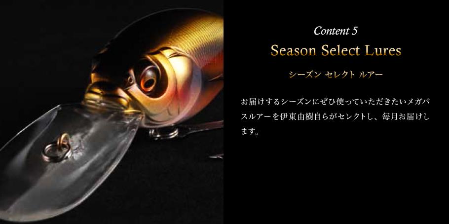 Content 5 Season Select Lures(シーズン セレクト ルアー) お届けするシーズンにぜひ使っていただきたいメガバスルアーを伊東由樹自らがセレクトし、 毎月1つ、計6個お届けします。